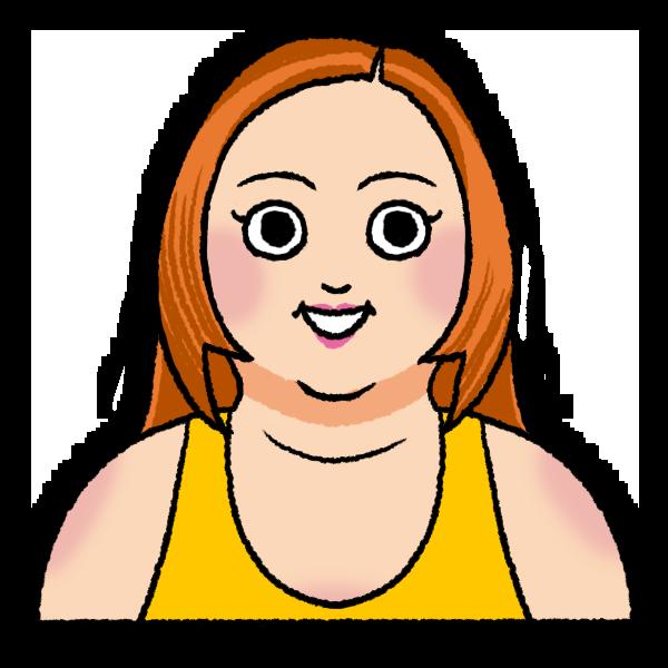 太った女性のイラスト バストショット
