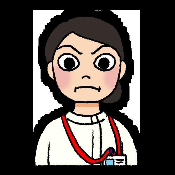 怖い顔の看護師のイラスト