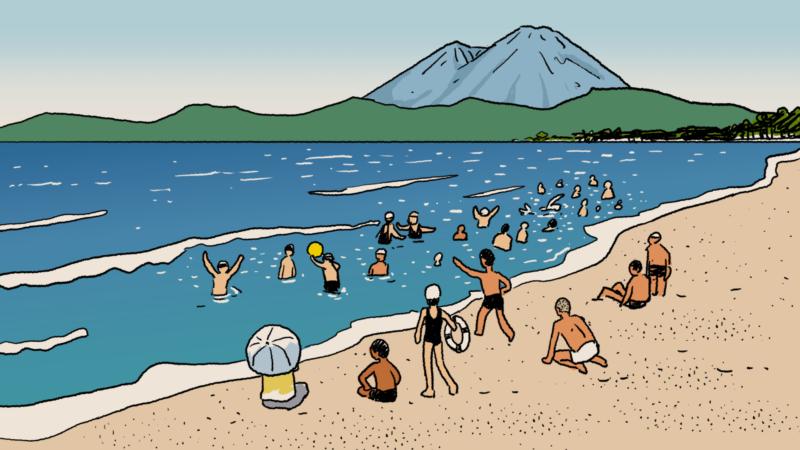 昭和初期の海水浴のイラスト