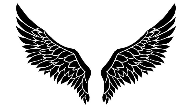 翼の背景のイラスト(白地に黒)