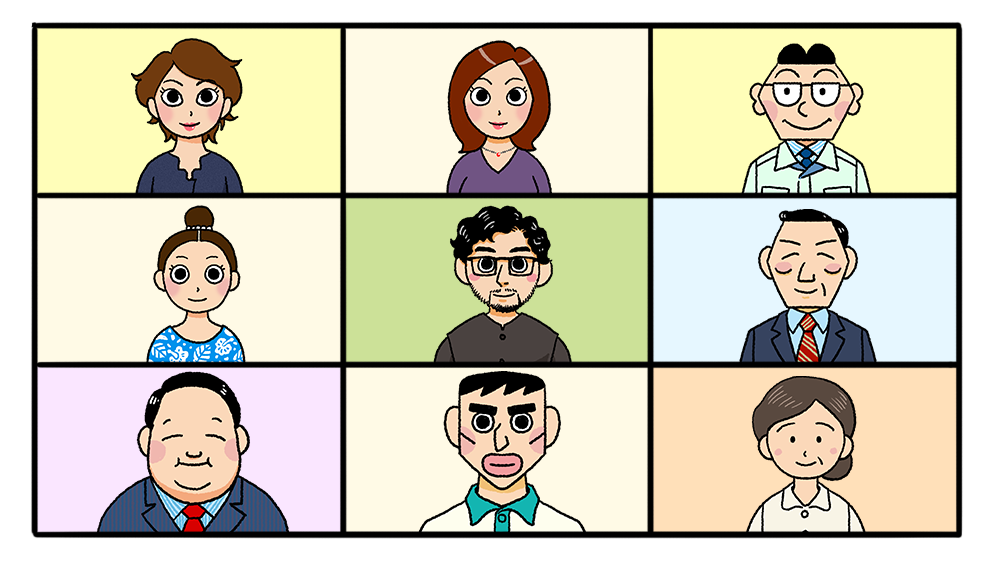 オンラインミーティングのオンラインミーティングの画面のイラスト