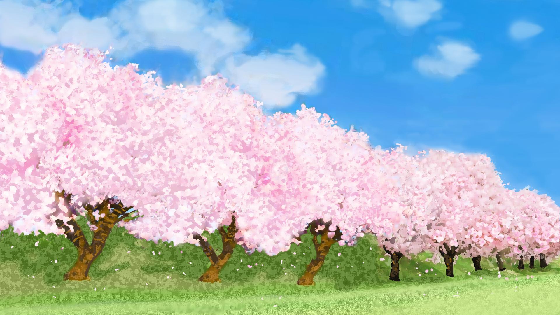 桜並木の背景のイラスト