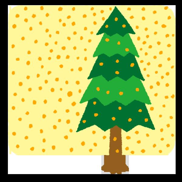 杉の木のイラスト 花粉かなり多め