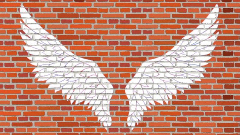 翼が描かれた赤煉瓦の背景のイラスト