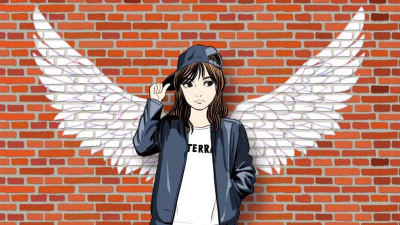 赤レンガの翼の前に立つ女性のイラスト