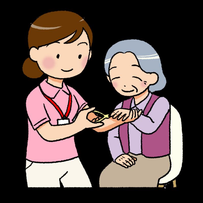 爪切りをする女性介護士のイラスト