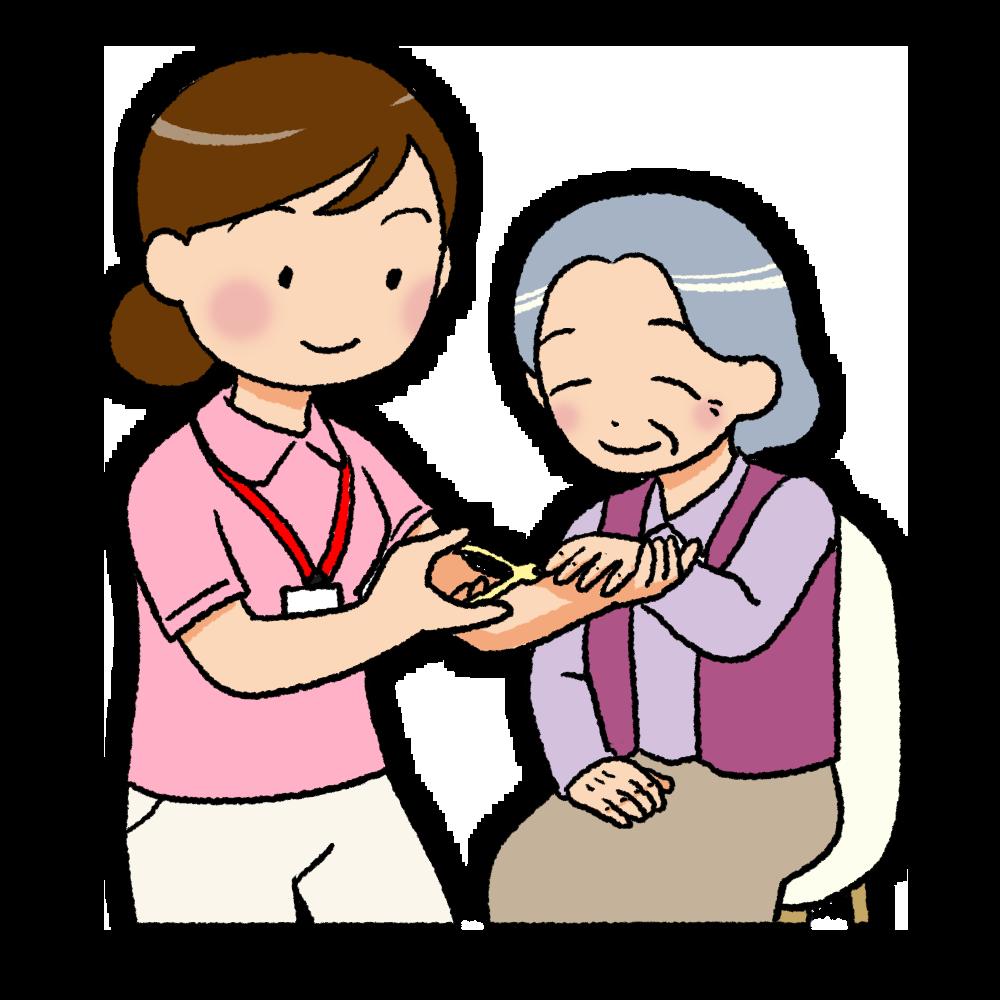 ニッパー型の爪切りで爪切りをする介護士のイラスト