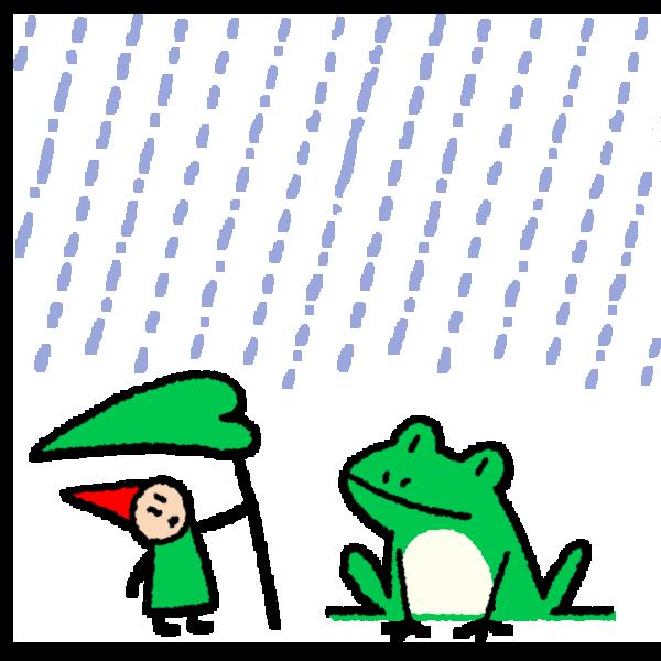 雨降りと妖精とカエルのイラスト
