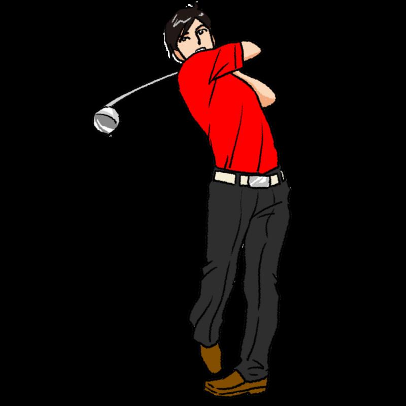 ゴルフのスイング(男性)のイラスト