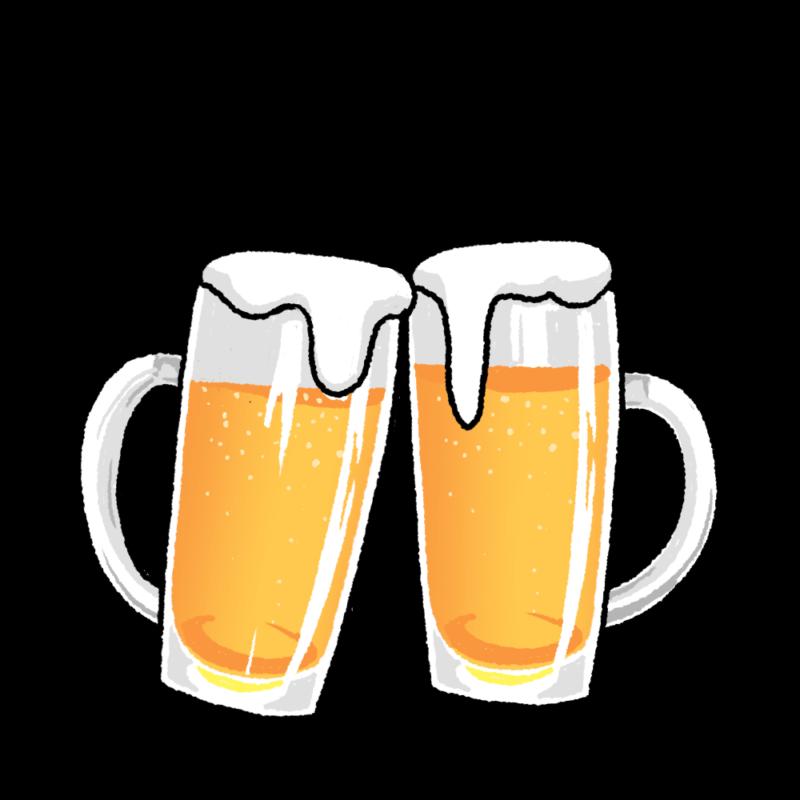 ビールで乾杯のイラスト(記号なし)