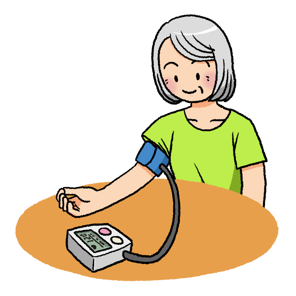 血圧を測定する高齢者のイラスト