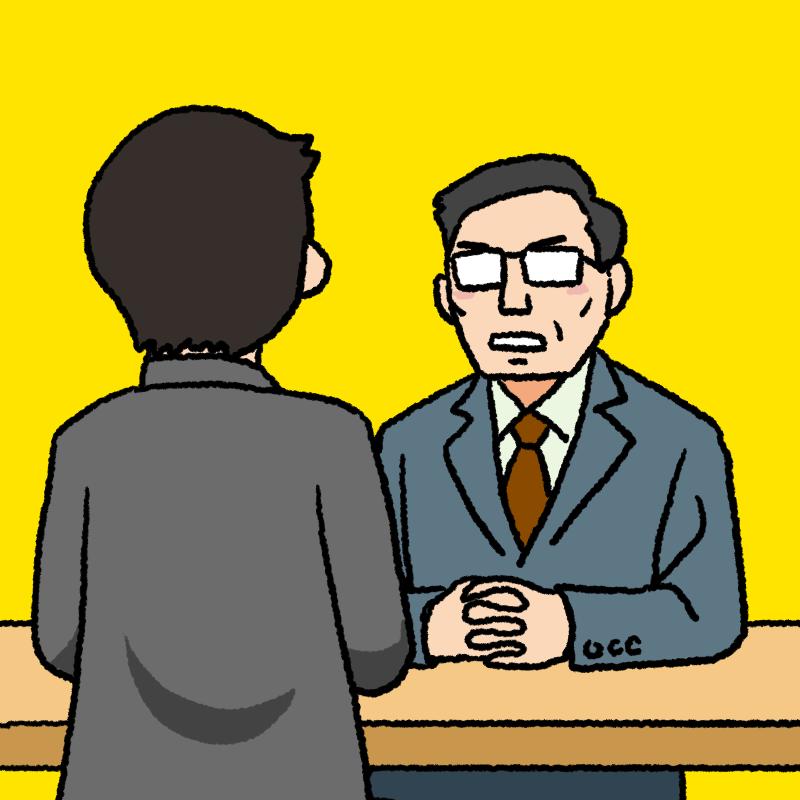 男性と面談する中年の上司のイラスト 背景あり
