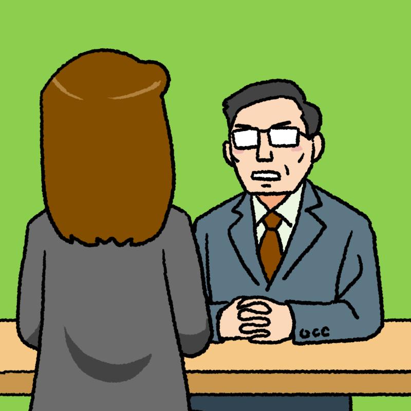 女性と面談する中年の上司のイラスト 背景あり