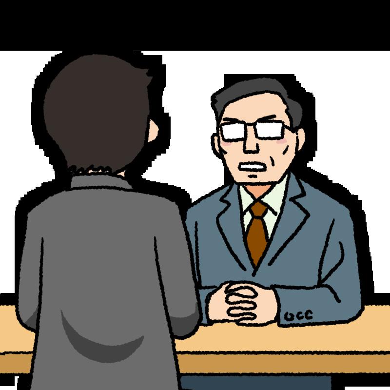 男性と面談する中年の上司のイラスト
