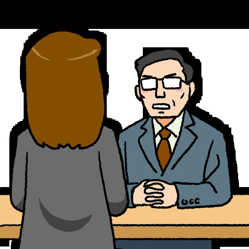 女性と面談する中年の上司のイラスト