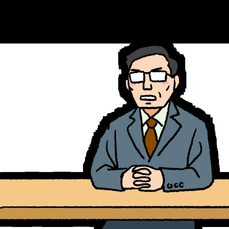 テーブルで話をするスーツ姿の中年男性のイラスト