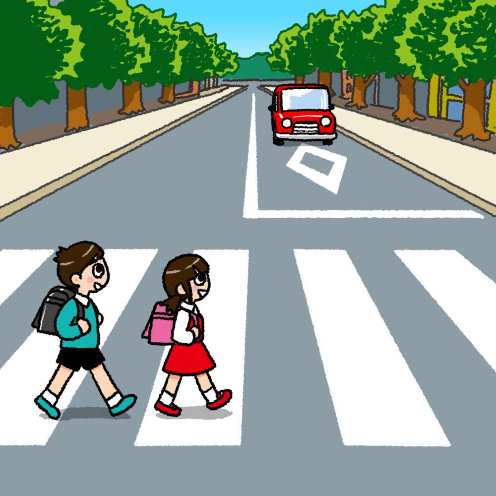 横断歩道を渡る子供のイラスト