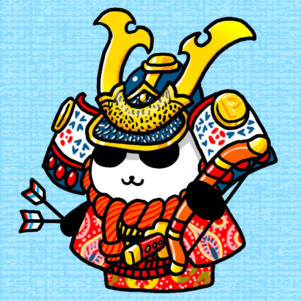 パンダの五月人形のイラスト