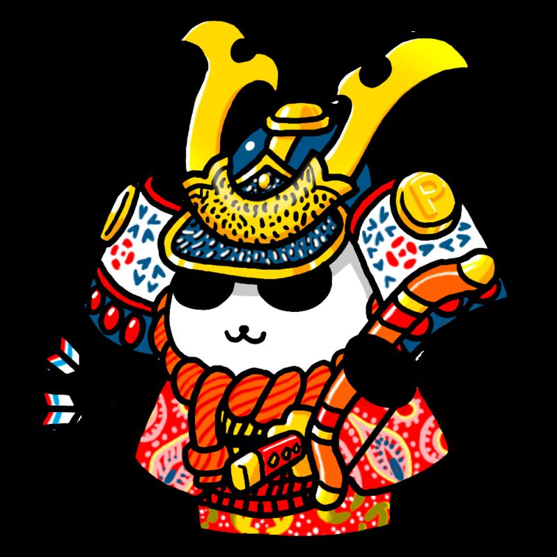 パンダの五月人形のイラスト(背景なし)