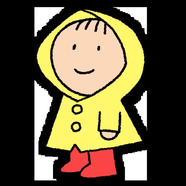 レインコートの子供のイラスト