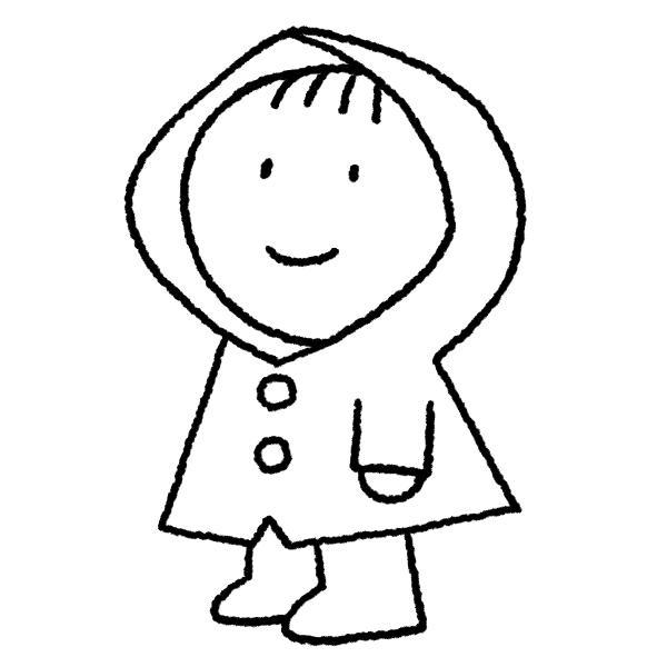 レインコートの子供のイラスト(ぬり絵)