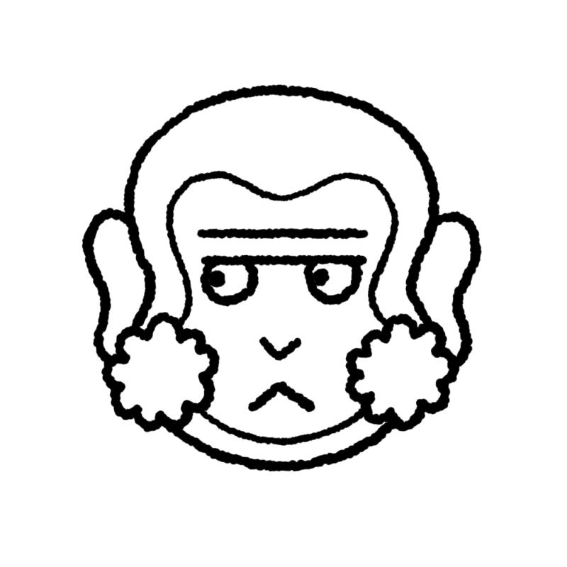 サルの顔のイラスト(ぬり絵)