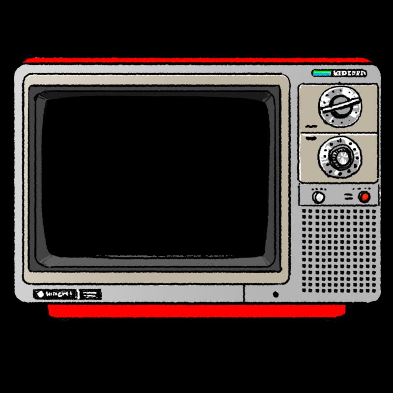 昭和のカラーテレビのイラスト(はめ込み用)