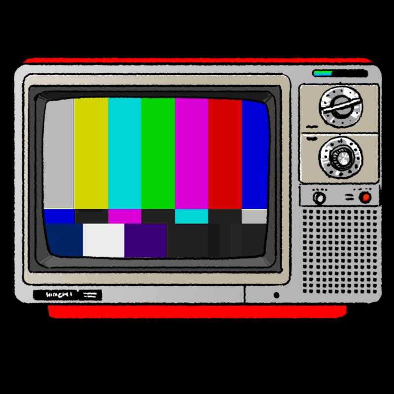 昭和のカラーテレビのイラスト(カラーパターン)