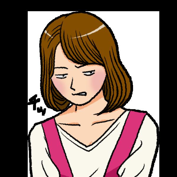 舌打ちをする女性のイラスト