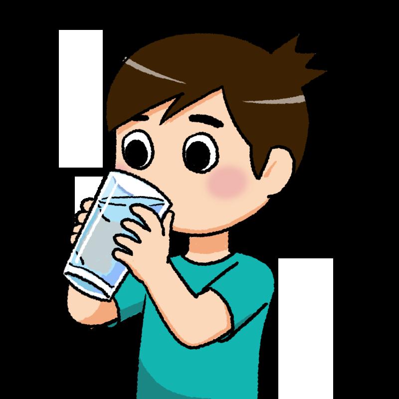 水分を補給する少年のイラスト