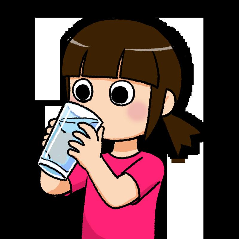 水分を補給する少女のイラスト
