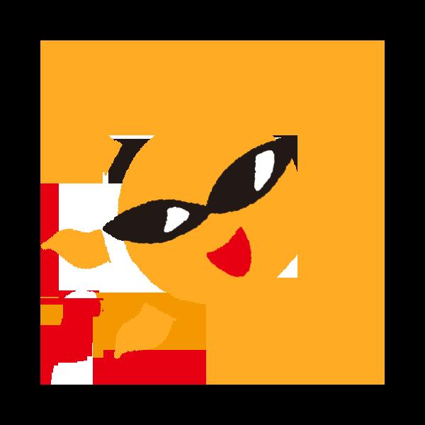 サングラスをつけた太陽のイラスト