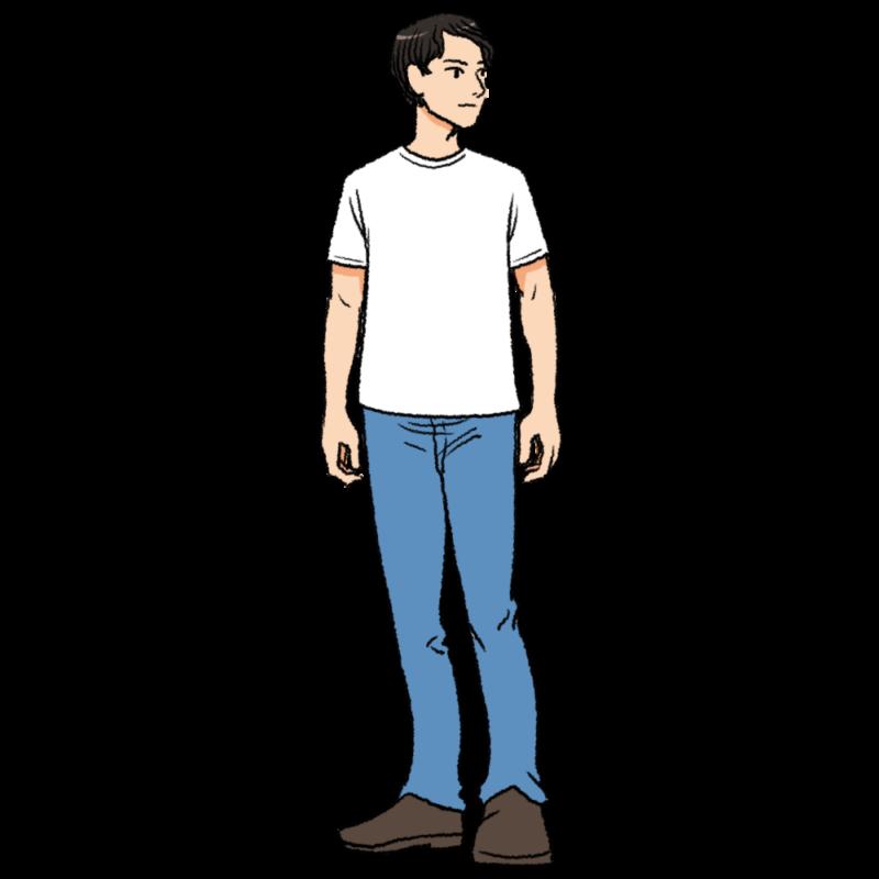 白いTシャツを着た男性のイラスト