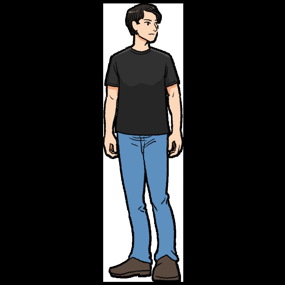 黒いTシャツを着た男性のイラスト