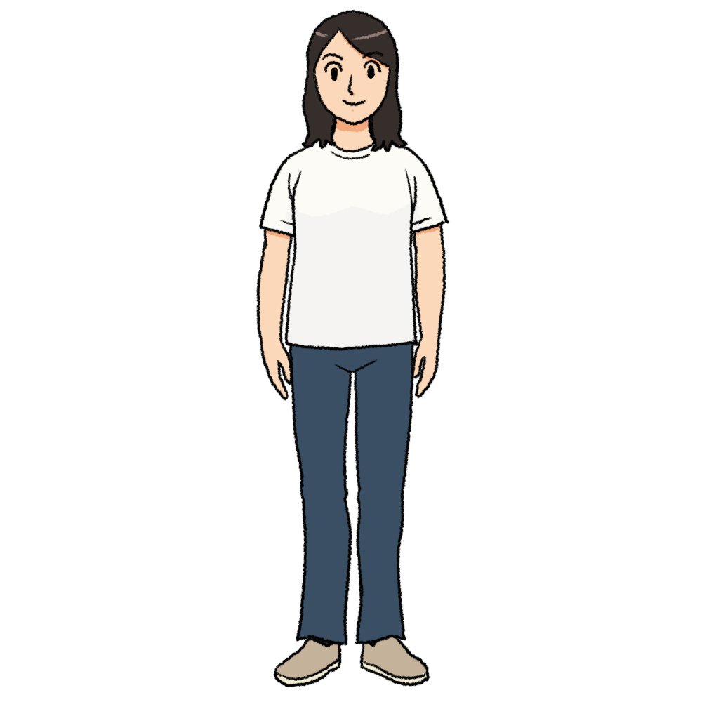 白いTシャツを着た女性のイラスト