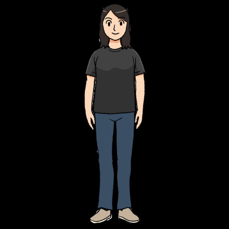 黒いTシャツを着た女性のイラスト