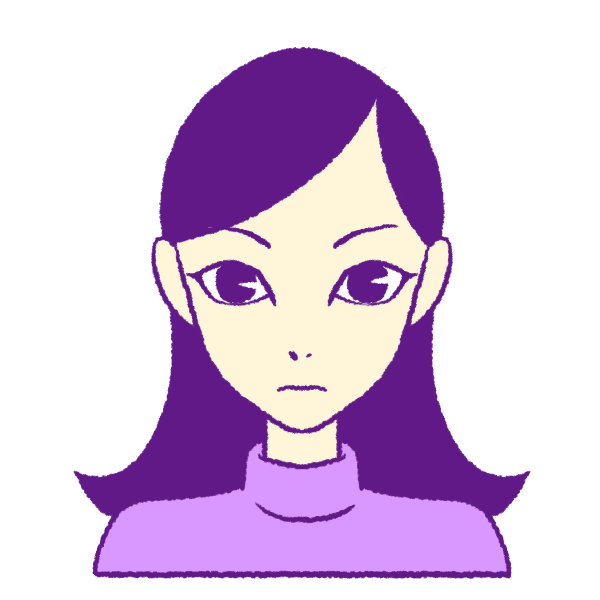 大きな目の痩せた女の子のイラスト