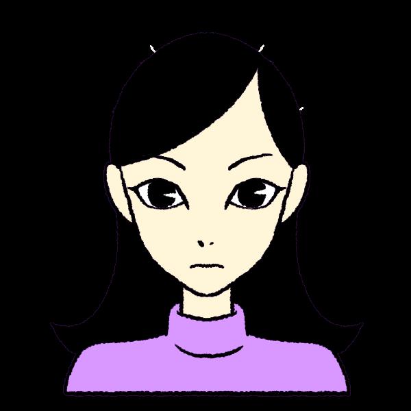 大きな目の痩せた女の子のイラスト(黒髪)