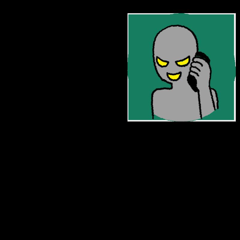 電話をする犯人のイラスト