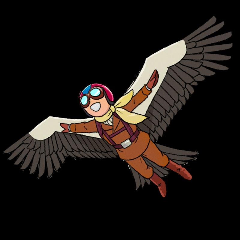 翼をつけて空を飛ぶ人のイラスト