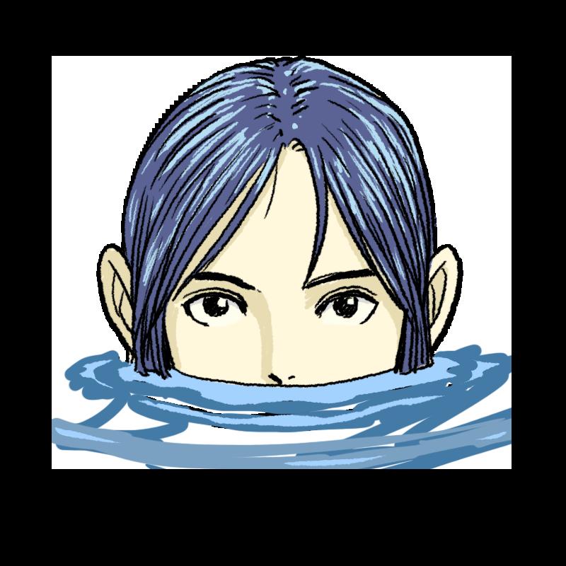 水から顔を出す女性のイラスト