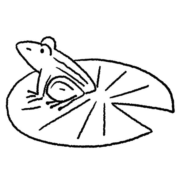 ハスとカエルのイラスト(ぬり絵)