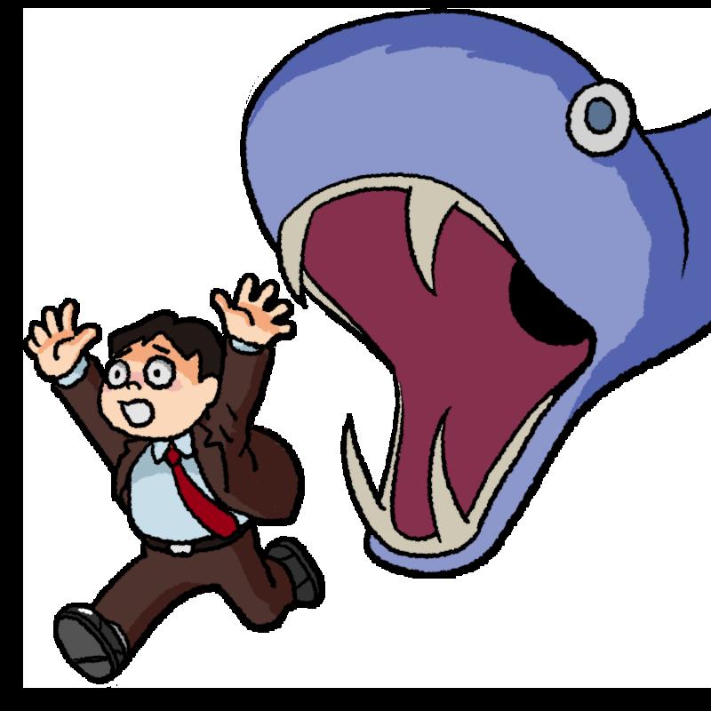 怪物から逃げる男性のイラスト