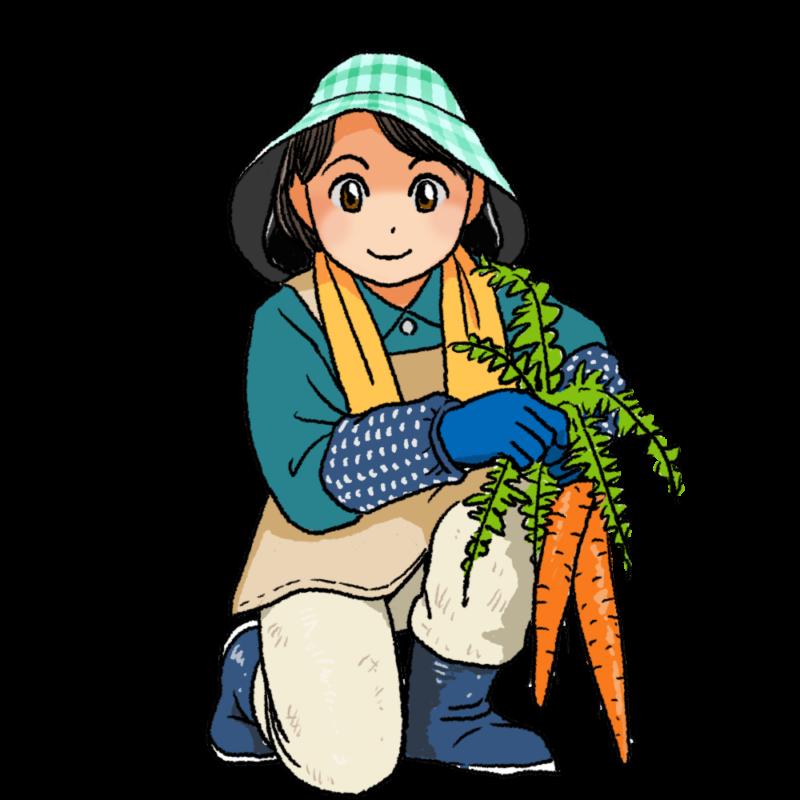農作業をする女性のイラスト
