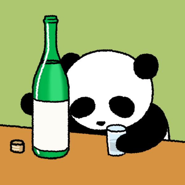 酒に溺れるパンダのイラスト