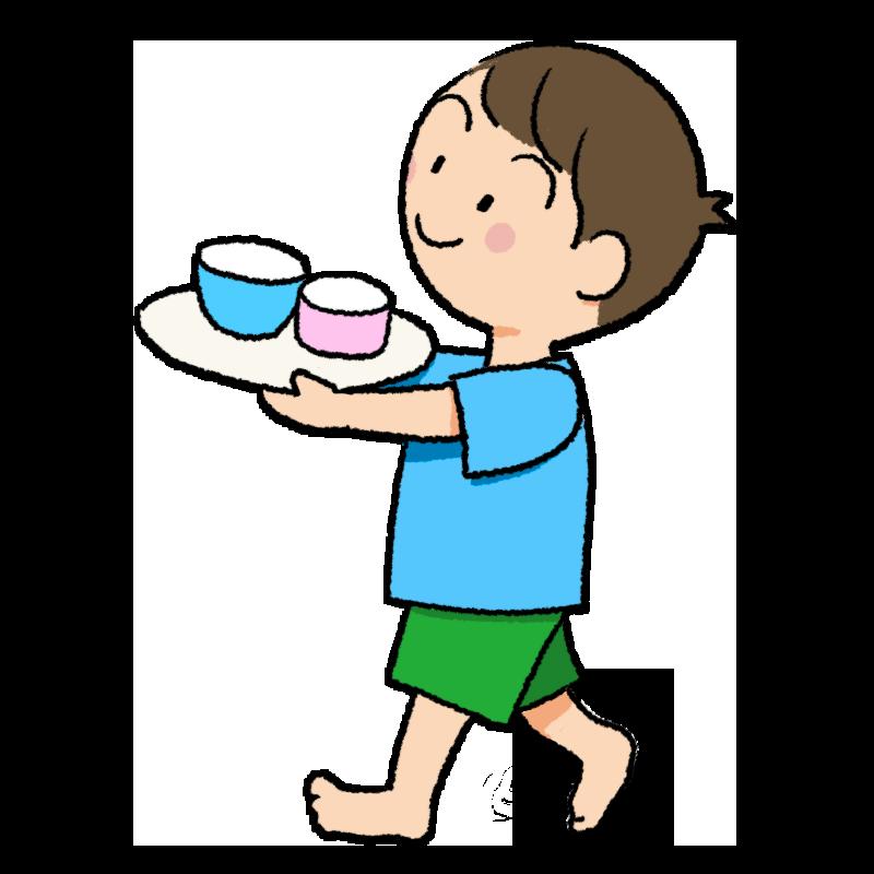 食器を運ぶ男の子のイラスト