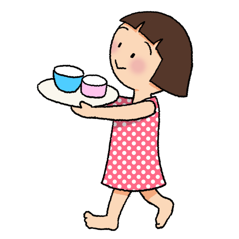 食器を運ぶ女の子のイラスト