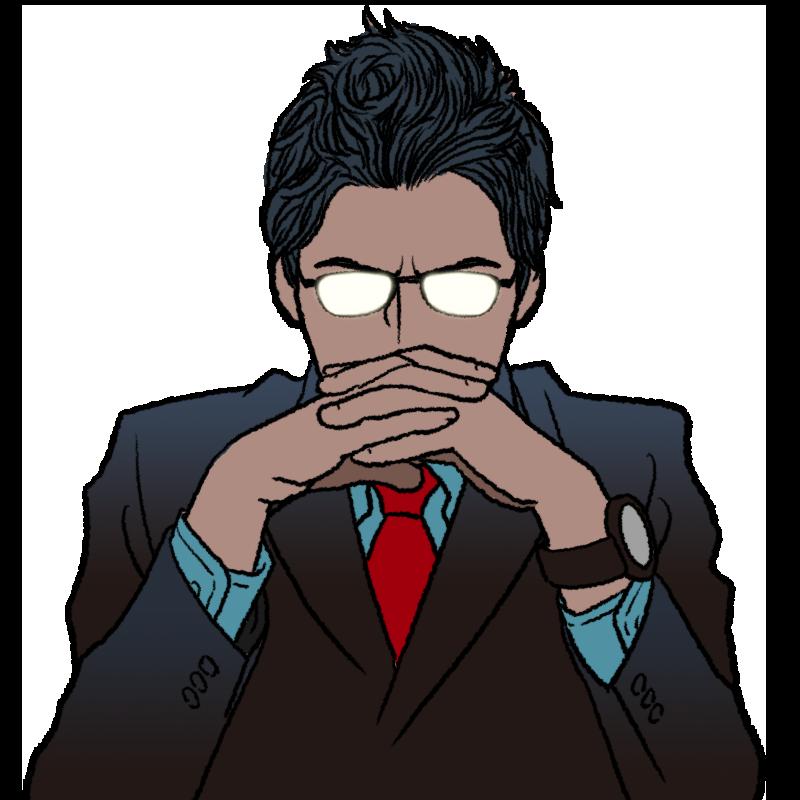 組んだ手で口元を隠す人のイラスト(メガネが発光)