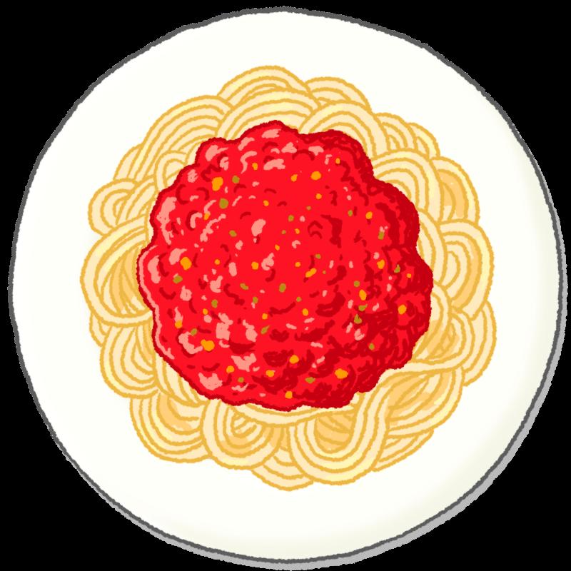 ミートソースのスパゲティのイラスト