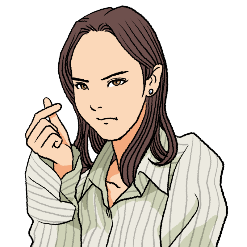 怒った顔で指ハートをする女性のイラスト
